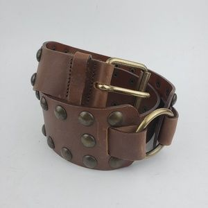 Express Made In Italy Brown Leather Studded Belt S